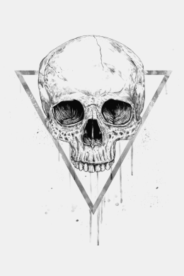 Skull in a triangle (bw),