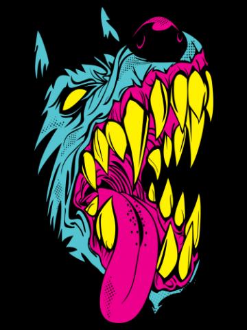 Big teeth wolf