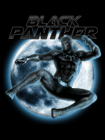 Black Panther Across the Moon