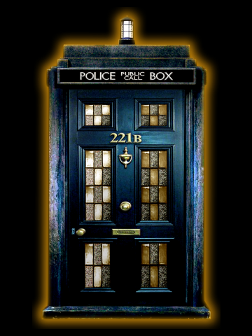 Blue Phone Box with 221b number