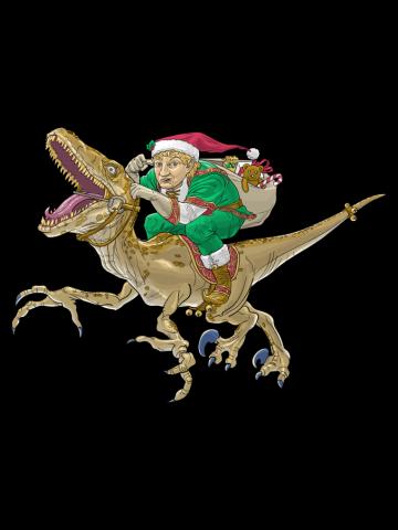 Christmas Elf Riding a Velociraptor