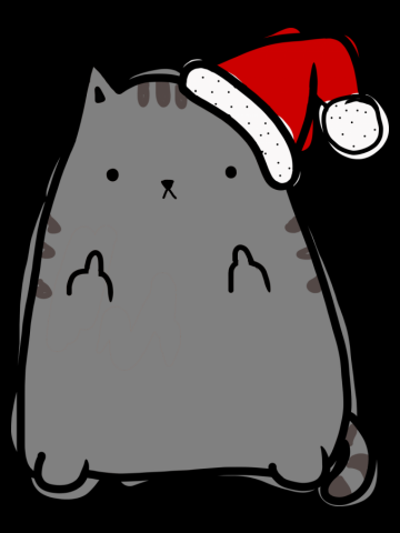 Christmas Kitty Middle Fingers