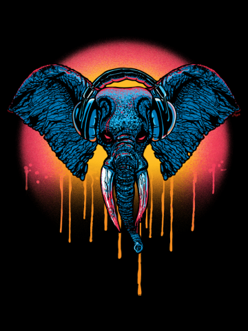 Extreme Elephant Chillin' with Headphones B