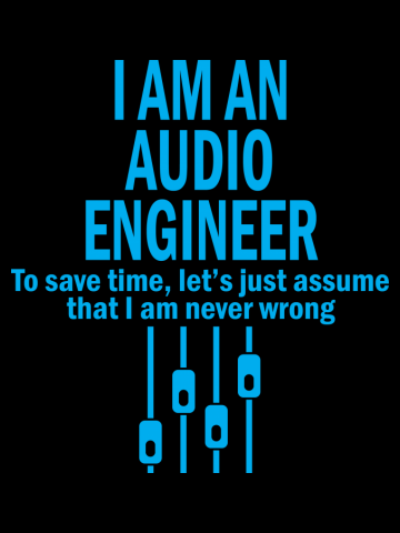 I AM AN AUDIO ENGINEER TO SAVE TIME, LET'S JUST ASSUME THAT I AM
