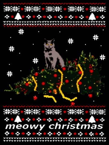 Meowy christmas - cat ugly christmas sweater