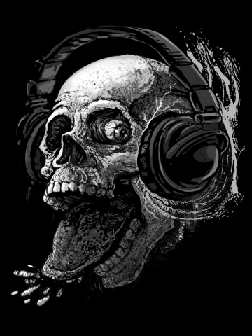 Monochromatic Skull With Headphone Rocking Out