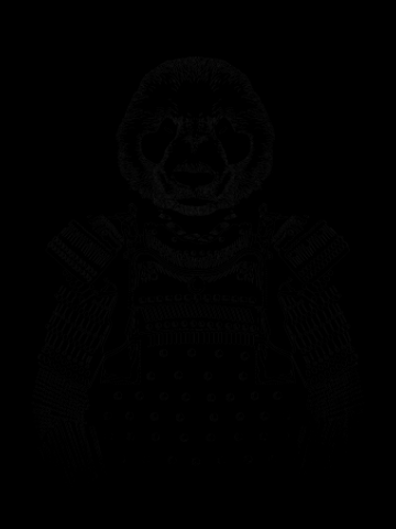 Panda samurai black & white