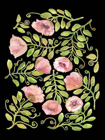 Pink Poppies Pattern by Michelle Scott at dotsofpaint studios