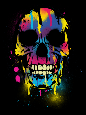 Skull with Colorful Drips And Paint Splatters