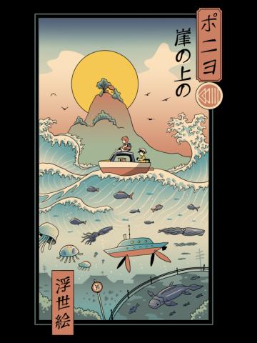Ukiyo e by the Sea