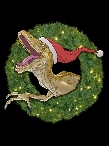 Velociraptor and Christmas Wreathe