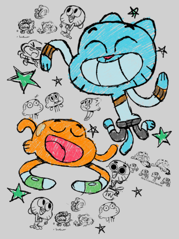 Gumball and Darwin Sketched