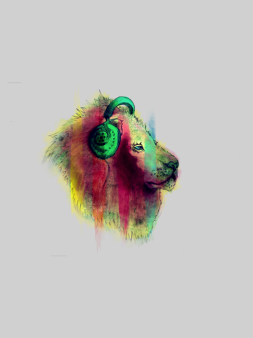 Lion music lover - artistic paint