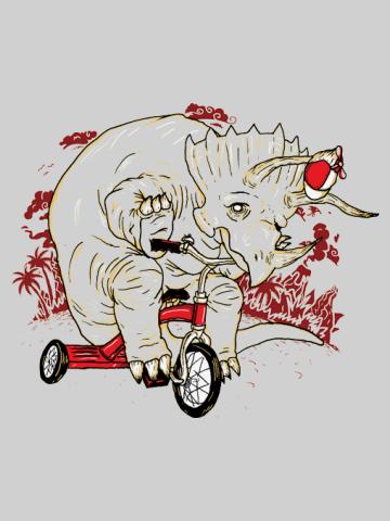 Triceratop pe tricicleta