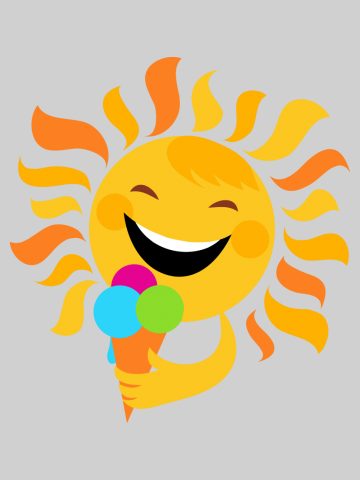 Smiling sun eating icecream