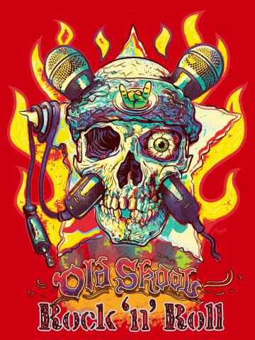 Skull WIth Microphone Crossbones Rock Never Dies