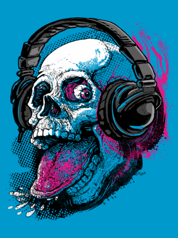 Raspberry Skull Chilling With Music Headphones