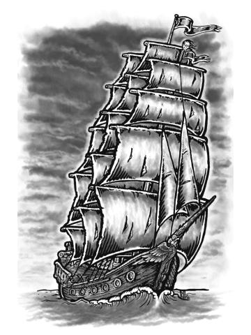 Caleuche Ghost Pirate Ship - Blackline
