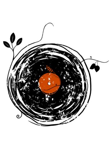 Enchanting Vinyl Records Retro Music DJ Desig