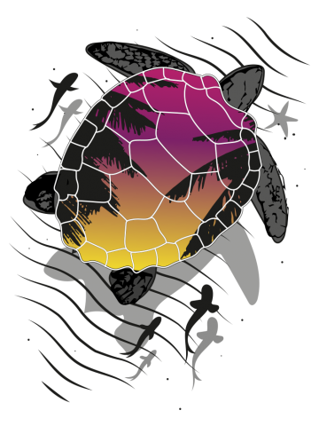 Floating turtle sunrise