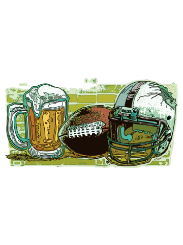 Football Beer and a Shattered Helmet