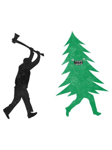 Funny Cartoon Christmas tree is chased by Lumberjack