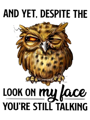 Funny owl quotes - And yet despite the look on my face you're still taking