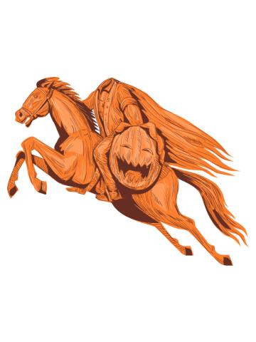 Headless Horseman Pumpkin Head Drawing