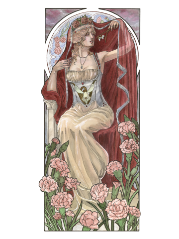 Lady of January Art Nouveau Birthstone Series with Carnations