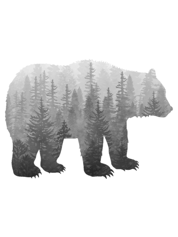 Misty Forest Bear - black and white