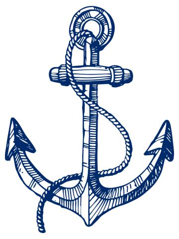 Navy blue nautical boat anchor illustration