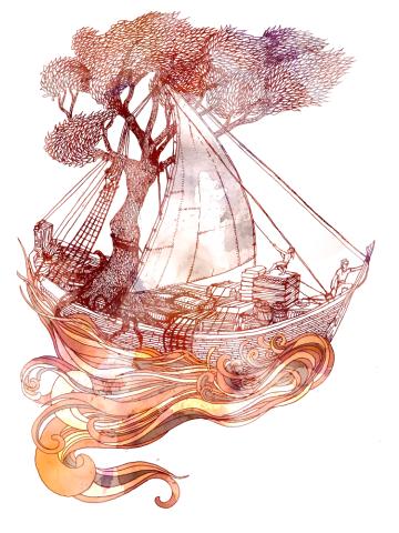 Roots at sea.