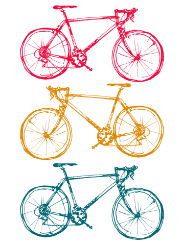 Three Sport Bicycles Doodles Drawing