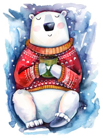 Watercolor Christmas White Bear